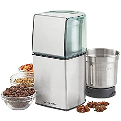 Andrew James Coffee Grinder, Nut And Spice Grinder In Stainless Steel, 200W, Wet And Dry from Andrew James