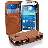 Samsung Galaxy S4 MINI Hülle in BRAUN von Cadorabo - Handy-Hülle mit Karten-Fach und Standfunktion für Galaxy S4 MINI Case Cover Schutz-hülle Etui Tasche Book Klapp Style in COGNAC-BRAUN