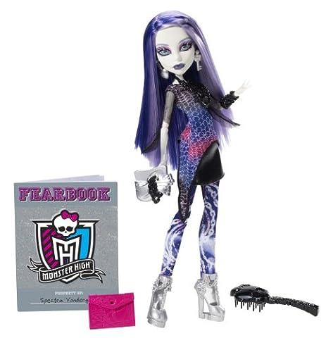 Mattel Monster High Y8499 - Spectra Vondergeist, Puppe mit Jahrbuch (Yeti-kostüm Kinder)