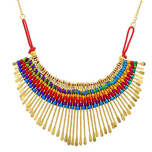 Aabhu Gold Plated Handmade Funky Thread Choker Necklace Tribal Jewellery Set With Earring For Women And Girls