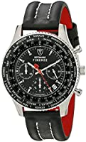 DETOMASO Firenze Men's Quartz Watch with Black Dial Chronograph Display and Black Leather Bracelet Sl1624C-Bk