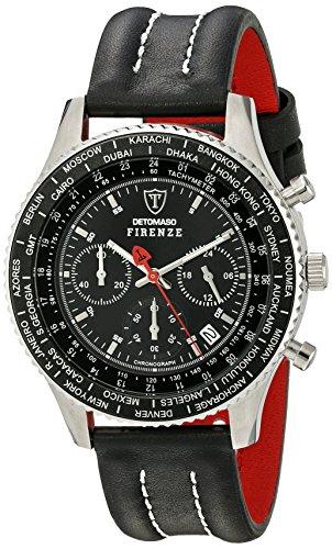DETOMASO Men's Firenze Quartz Watch with Black Dial Chronograph Display and Black Leather Bracelet SL1624C-BK