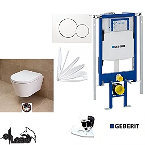 Geberit Duofix Basic UP 320Corner Frame System Actuator White City Design Al: 48Washdown Toilet Complete Set + Lid with Soft Close Sound Insulation