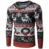 Tefamore Hommes Automne Hiver Noël de Noël Blouse T-shirt à manches longues (L, Multicolore-1)