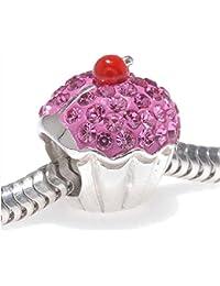 Rose Cupcake Argent sterling Perle charm avec Bling Cristal de Swarovski pierres–Compatible avec bracelets européens pour charms.