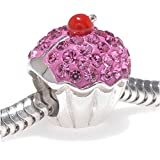 Best Glamour Girl Gifts Collection Friend Gifts Sets - PINK Cupcake Sterling Silver Charm Bead Set With Review
