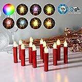 CCLIFE 20/30/40er LED Kerzen RGB Bunt Weihnachtsbaumkerzen weihnachtskerzen Christbaumkerzen Kabellos mit Fernbedienung Timer, Farbe:Rot, Größe:20er