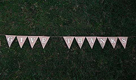 GIVE THANKS Burlap Banner-Custom Thanks Giving Banner-Opulent Home Décor-Rustic Thankful Bunting-Thanks Giving Party Décor-Pennant Flag