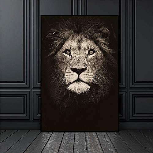 Pintura en lienzo para animales, color negro y blanco, diseño de elefante de cebra, cabeza de león, retrato, pintura para pared para decoración moderna del hogar, Md4829, 40 * 50cm