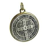 Bling Cartel medalla de San Benito Saint ST Benedict Zwei Ton Medaillon Antik Silber & Gold Finish 35mm Medaille