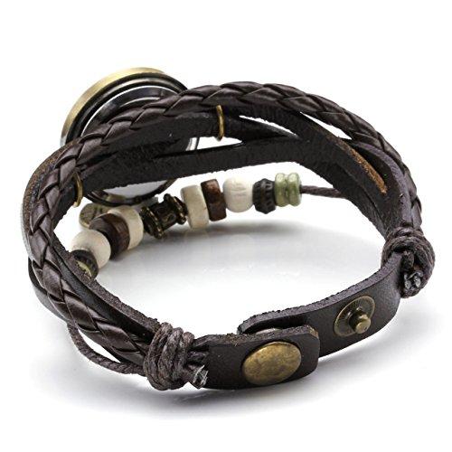 JSDDE Uhren Vintage Wickelarmband Damen Armbanduhr Lederarmband Bronze Herz Anhänger Holzperlen Analog Quarz Uhr, Dunkelbraun - 4