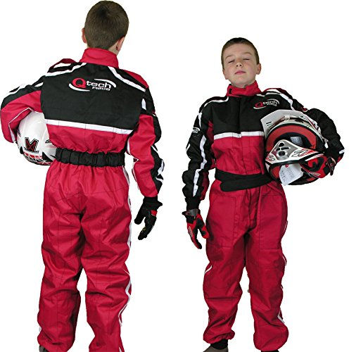 Qtech - TUTA DA CORSA intera motocicletta go kart motocross da bambini - Rosso - XXL