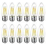 4W E27 Filament LED Glühfaden C35, 2700K Warmweiß, Ersatz für 40W Glühlampe, ultrahell 470 lm, Rustikalampe in Kerzenform, Filamentstil klar (12er Pack) - LVWIT