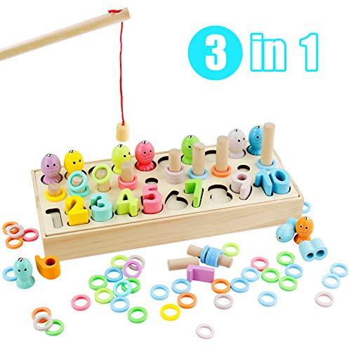 Symiu Jeux Éducatifs Montessori Mathematiques Enfant Apprendre à Compter Jeu Bois Puzzle Enfant 3...
