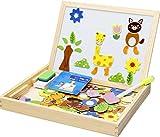 #4: Montez Magnetic Jigsaw Two-Sided Whiteboard & Blackboard Learning Educational Wooden Toy