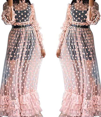 YOJDTD Rockkleid Sexy Kleid Netzkleid Mode Kleid, Pink, XL