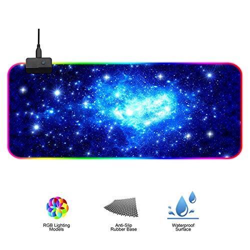 GB Beleuchtung, 7 LED Farben 14 Beleuchtungs-Modi USB Gaming Mouse Mat, Desk Anti Rutsch Matte für Computer, Professionelle Gamer (800 * 300) ()