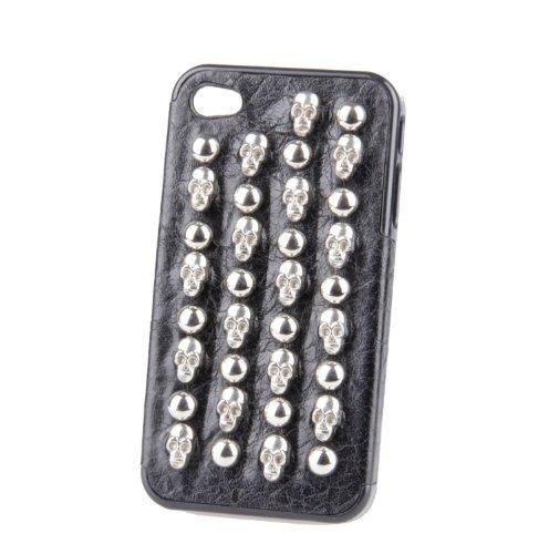 Monkey cases ® iPhone 4/4s-noir/rivets-case-argent-motif original) (tête de mort-skull-nEUF-pierres#10