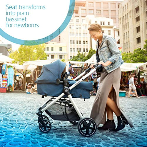 Maxi-Cosi Zelia Baby Pushchair, Lightweight Urban Stroller from Birth, Travel System with Bassinet, 0 Months - 3.5 Years, 0 - 15 kg, Sparkling Grey