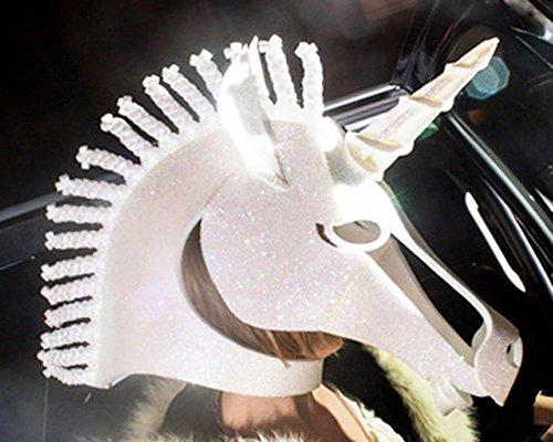 Einhorn Kostüm Kopf Maske, mit holographische Glitter. Handgefertigt. Tierfreundliche Fantasie Maskerade Maske Partei Kopfschmuck. NUR KOPF.