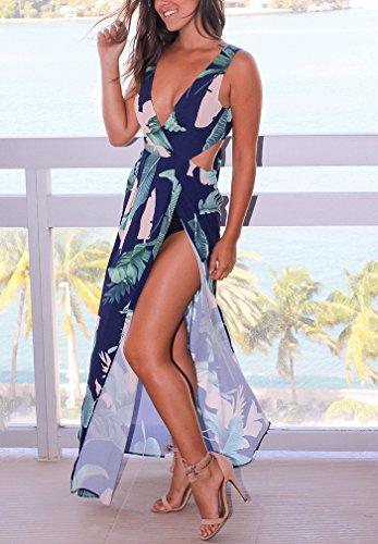 Hikong Vestito Lunghe Donna Estate Senza Schienale Scollo a V Abito Maxi a Spacco Vita Alta Floreale Stampato Vestiti da Sera Cerimonia Spiaggia Elegante Blu