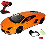 Lamborghini Aventador LP700-4 Coupe Orange - Komplettset mit Akku - RC Funkauto - mit Beleuchtung - sofort startklar - 1/10 Modellcarsonline Modell Auto mit individiuellem Wunschkennzeichen