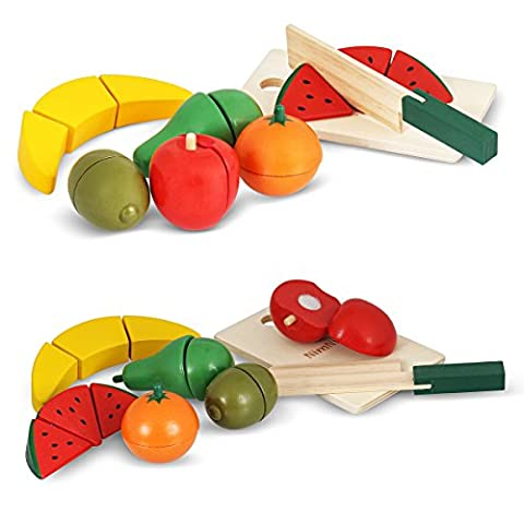 Food Holzspielzeug Schneiden Food Set Pretend Essen Schneiden Hölzerne spielen Lebensmittel Sets For Kids von (Küche Pretend Spielset)