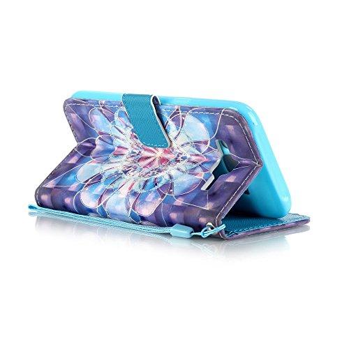 Qimmortal - Pratica ed elegante custodia a portafoglio in PU, protezione integrale antiurto, con aletta a chiusura magnetica, laccetto da polso e scomparto per tessere, decorata con motivi 3D, per App Crystal Flowers