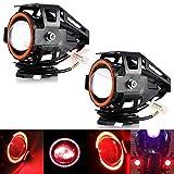 #10: AllExtreme U7 LED Fog Light Bike Driving DRL Fog Light Spotlight, High/Low Beam, Flashing-With Red Angel Eyes Light Ring (Pack of 2) U 7 Led Fog Light Red Angel Eye