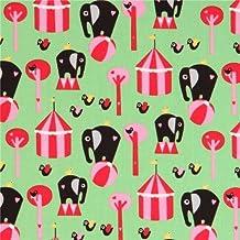 Tissu Copenhagen Print Factory bio vert, éléphants, oiseaux, chapiteau, cirque