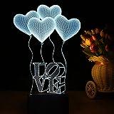 3D Lamp Nightlight for Children Adults, Night Light LED Romantic Heart Shape, Bedside Lamp, Desk Table Baby Girl Room Bedroom Decor Lighting, Unusual Birthday Present Christmas Gift Ideas for Lovers Friends Mom, 7 Colors Change