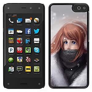 [Neutron-Star] Snap-on Series Coque de protection rigide Cas Case pour Amazon Fire Phone [Art Winter Girl Dessin neige froide casque]