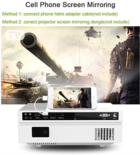 Deeirao Real 1080P Home Theater Projector LCD TFT LED Light HDMI USB VGA Full HD 1920 1080 Native Resolution compatible with Fire TV Stick PS4 Xbox360  white