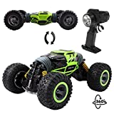 deAO funkgesteuerter doppelseitiger Stunt&Geländewagen, Rennauto,2,4 GHz Fernbedienung,Monsterraupenpanzer,Doppeltes Torsions- Design (Grün)