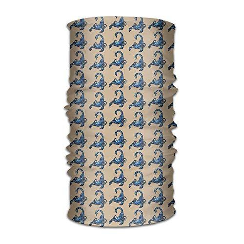 podingi Kopfbedeckung Fashion Blue Scorpion Magischer Multifunktionshandschal, Gesichtsmaske, Nackenschutz, Sturmhaube, Schweißband, Kopfbandage, UV-Beständigkeit für Outdoor-Sportarten. 25X50cm