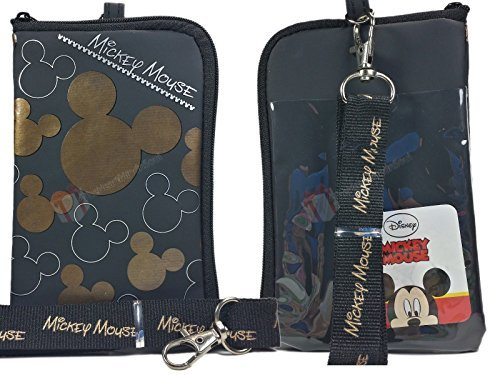 Disney Mickey Mouse Black Gold Lanyard with Cell Phone Case or Coin Purse (1 Lanyard) by Disney