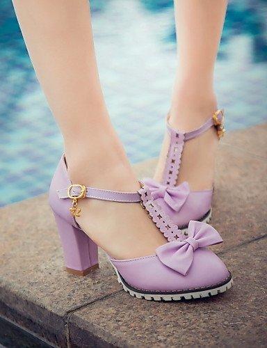 UWSZZ IL Sandali eleganti comfort Scarpe Donna-Sandali / Scarpe col tacco-Tempo libero / Formale / Casual-Tacchi / Punta arrotondata-Quadrato-Finta pelle-Rosa / Viola / Purple