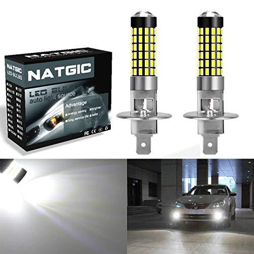 NATGIC 2PCS H1 Birnen Licht 900 Lumen 3014SMD 78-EX Chipsätze H1 Glühbirnen mit Objektiv Projektor für Nebelscheinwerfer Lampe, Xenon Weiß 6500K, 12-24V