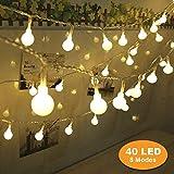 B-right Guirnalda de Luces, 4.5M 40 LED Blanco Cálido, 8 Modos de Luz,a Pilas, Resistente al agua IP44, La Cadena de Luces Decoración para Navidad, Fiestas, Bodas, Patio, Dormitorio, Jardines, Festivales,etc
