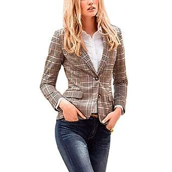 Image indisponible. Image non disponible pour la couleur   Veste De Costume  Femme Elégante Carreaux Patchwork Office Costume Printemps Automne ... b4827d92482