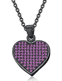 Silvernshine LADIES 10K Black GOLD FN PINK SAPPHIRE SIM DIAMOND LOVE HEART SHAPE PENDANT NECKLACE