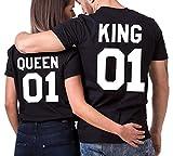 JWBBU King Queen Couple T-Shirt Partner Look Couple Tops SET pour Couple Noir (King-M+BK-Queen-M)