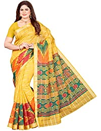 Maliqua Women's Poly Cotton Printed Saree With Blouse Piece (Multicolor)