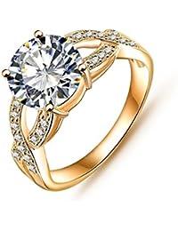 AnazoZ joyería 18 K plateado compromiso anillos platino plateado Swiss mujeres Cubic anillo de circón