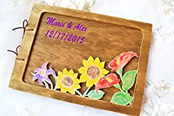 This cute wooden album with a bright flowers is made from high quality plywood. You can use a book as you like: as a guest book or photo album etc, for girlfriend or baby, to any holidays. Great for a new baby. Front facing made with carving ...