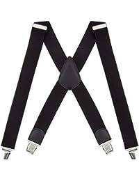 TED COLLINS Herren Hosenträger, Y-Form/X-Form, schwarz - Längenverstellbar und elastisch für angenehmen Tragekomfort - Hosen-Träger / 4 Clips
