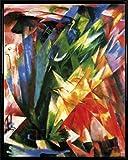 Franz Marc Poster Kunstdruck und Kunststoff-Rahmen - Die Vögel, 1914 (50 x 40cm)