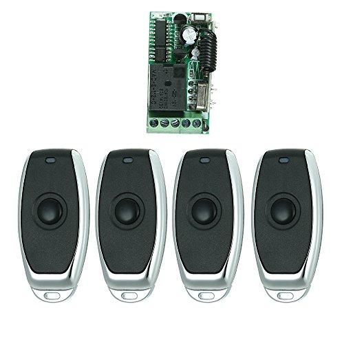 OWSOO Control Remoto Universal Módulo de Receptor RF 433Mhz DC 12V Mini 1CH Inalámbrico Interruptor de Control + 4PCS RF 433 MHz Mandos a Distancia del Transmisor 1527 Chip