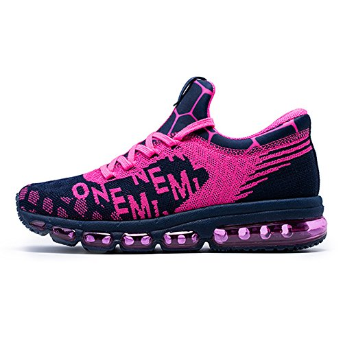 Onemix Mens And Womens Mid-Top Air Cushion Knit Walking Trainers Fitness Sports Running Shoes PinkBlue