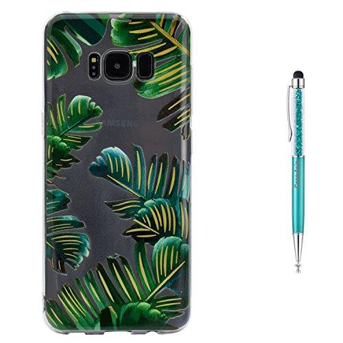 Grandoin Galaxy S8 HandyHülle, Süßes Muster Transparent Ultra Dünn Weiche TPU Silikon Schutz Handy Hülle Handytasche HandyHülle Etui Schale Schutzhülle Case Cover für Samsung Galaxy S8 - Blatt (Gummi-blatt Dünne)